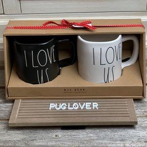 """🆕 RAE DUNN black & white mug set """"I LOVE US"""""""